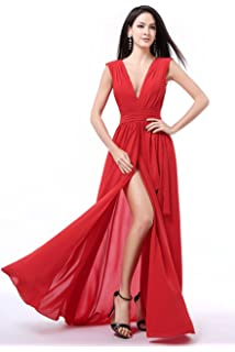 luckyservice88 Sexy Long Part Prom Dress Cocktail Dresses Formal Bridesmaid F23Red12