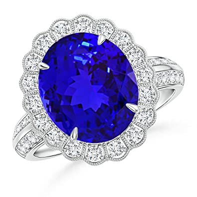 Angara Trio Diamonds and Oval Tanzanite Cocktail Ring in White Gold xKQKqL4w
