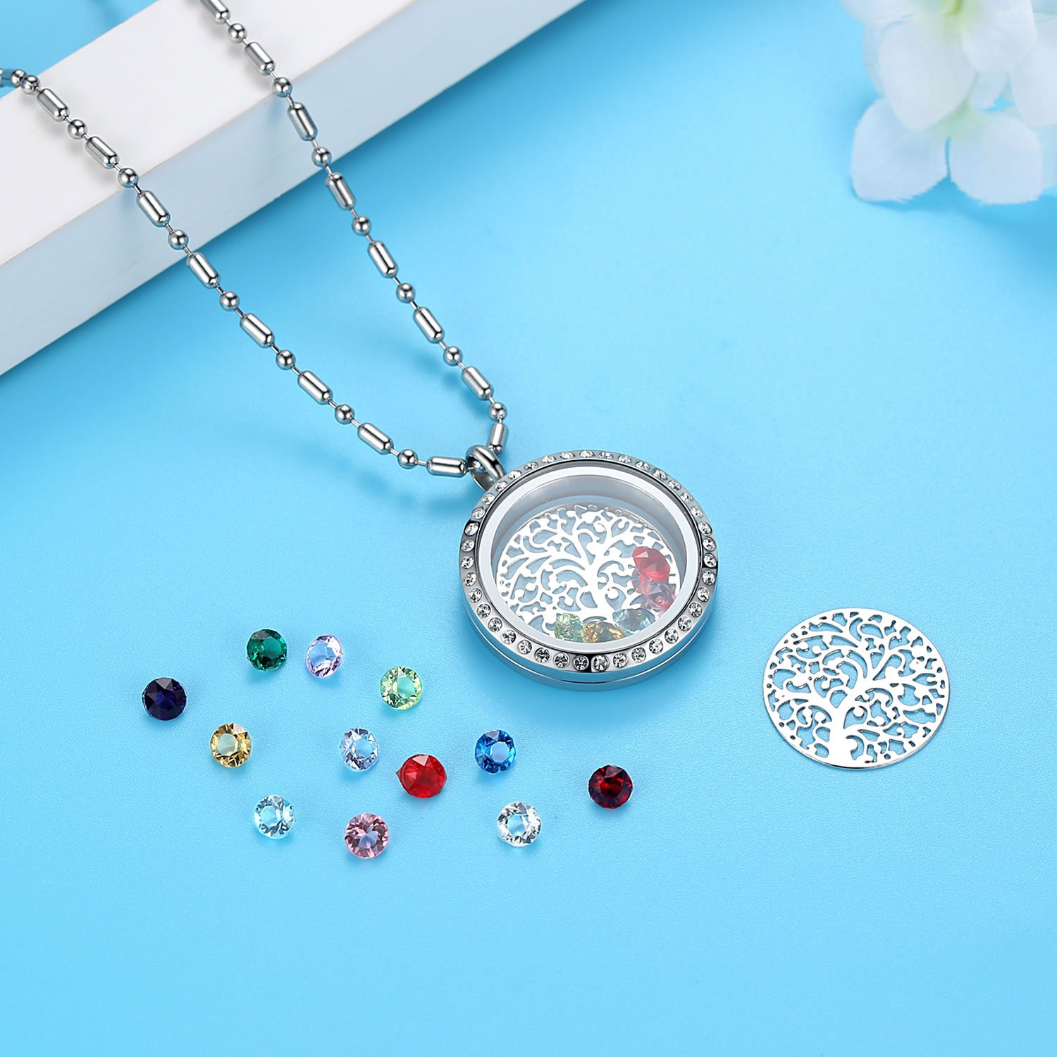 Family Tree of Life Birthstone Necklace Jewelry - Gifts for Mom Floating Charm Living Memory Lockets Pendant, Mother's day gifts, Birthday Gifts, Christmas day gifts, Anniversary Thanksgiving gifts by Feilaiger (Image #4)