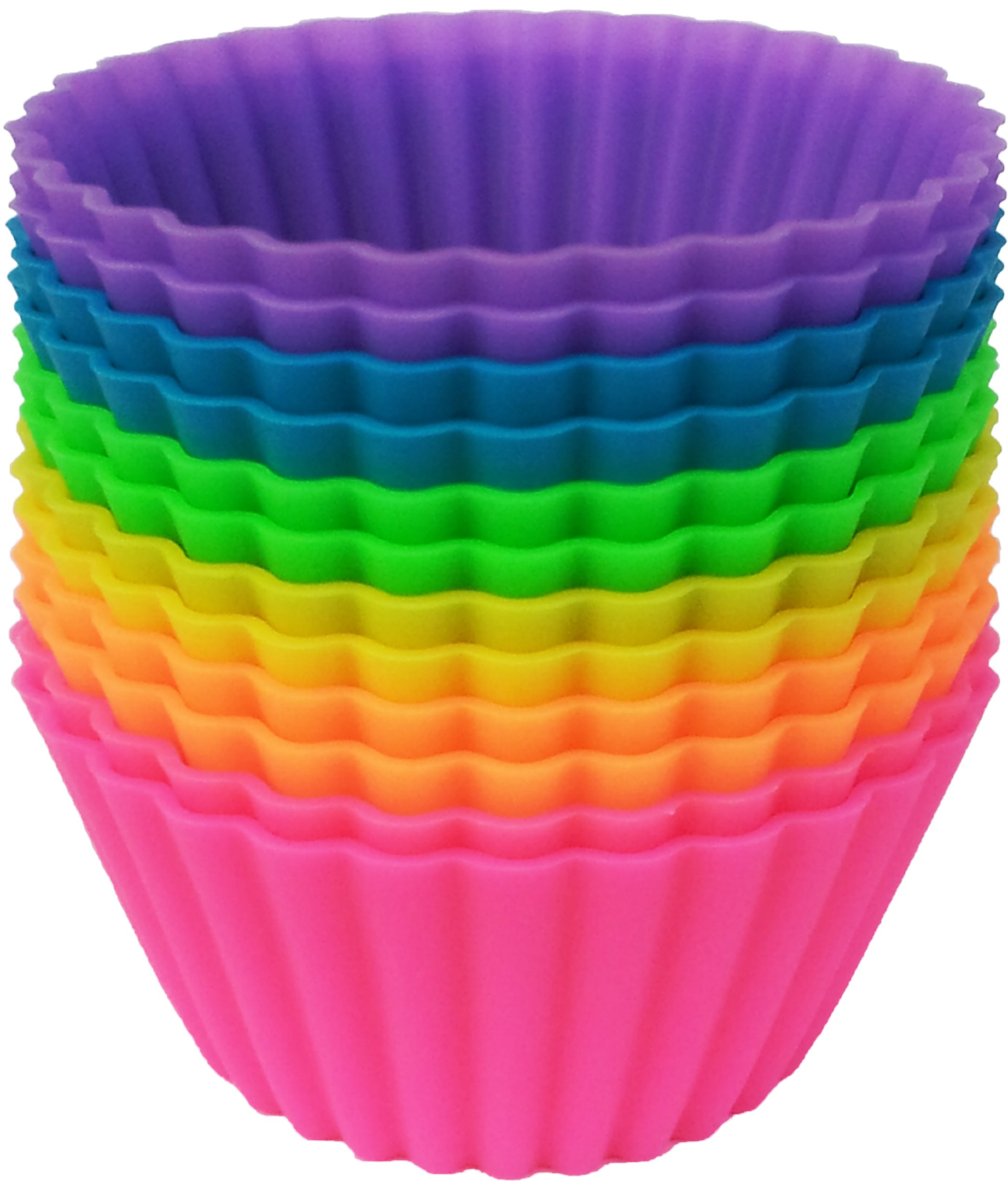 Pantry Elements Jumbo Silicone Muffin Cups - 12 Large 3-5/8 inch Baking Liners in Storage Jar
