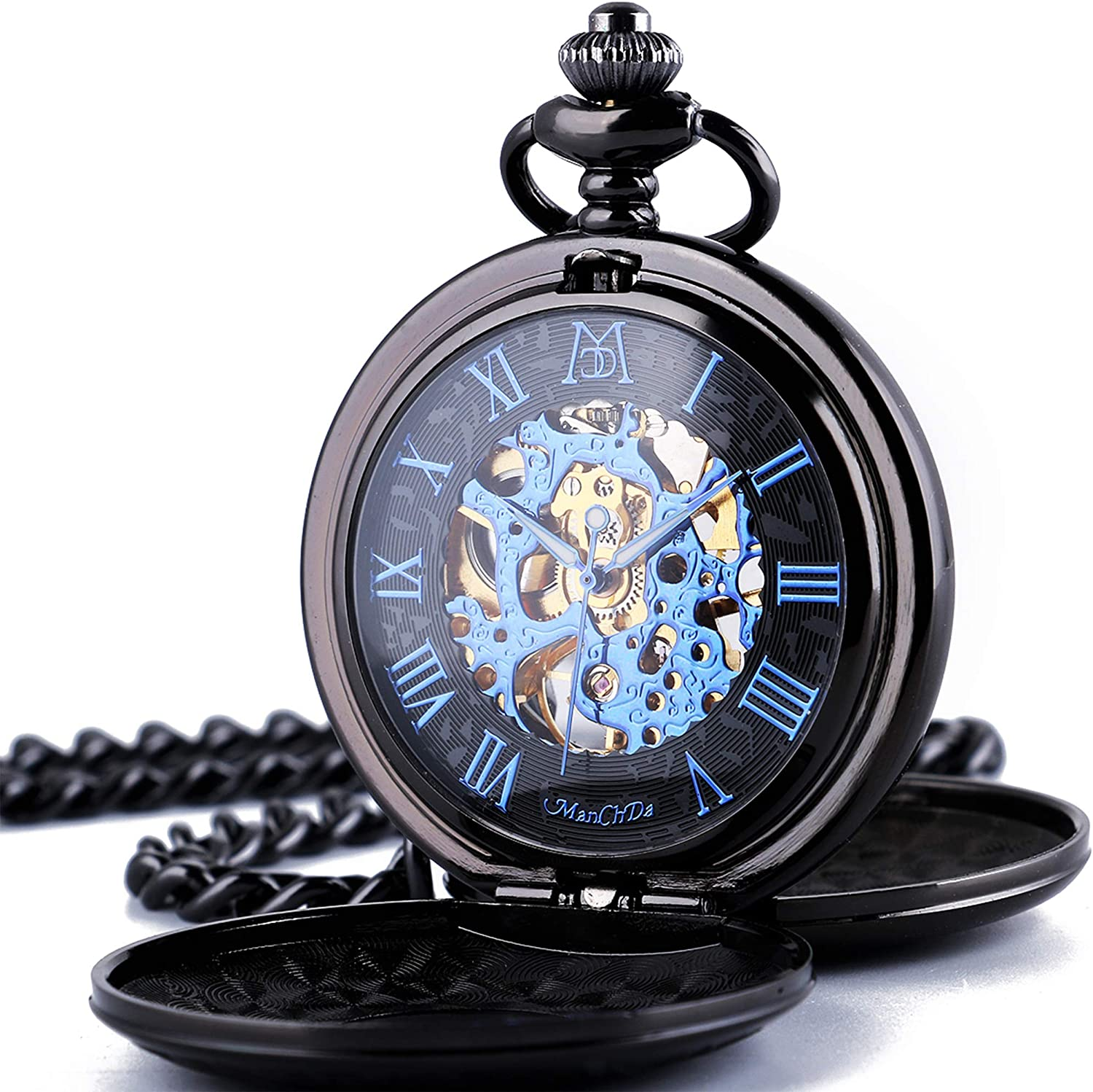 ManChDa Mechanical Roman Numerals Dial Skeleton Pocket Watches with Box and Chains for Mens Women