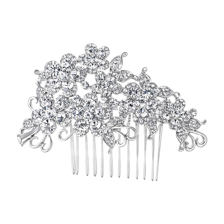 EVER FAITH Austrian Crystal Wedding Bridal Flower Cluster Hair Comb Clear
