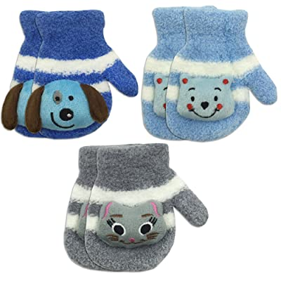 3 Pair Pack Toddler Baby Boys Warm Winter Mittens Gloves - Cute Fuzzy (Ages 1-3)