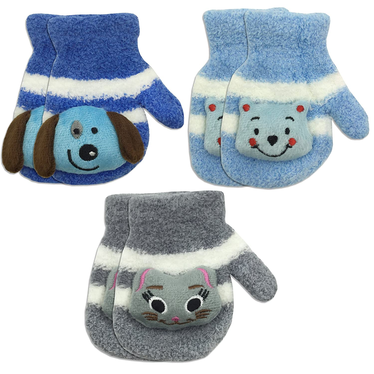 3 Pair Pack Toddler Baby Boys Warm Winter Mittens Gloves - Cute Fuzzy (Ages 1-3) 4521MP-BOYS-3PK-GP