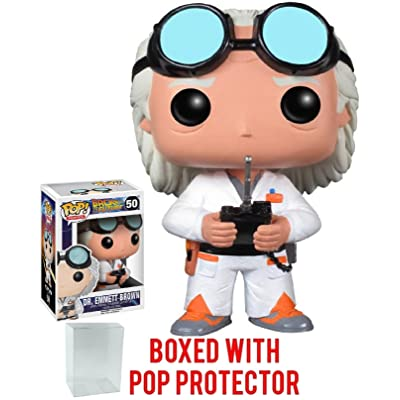 Funko Pop! Movies: Back to the Future - Dr. Emmett Brown Vinyl Figure (Bundled with Pop Box Protector Case): Toys & Games
