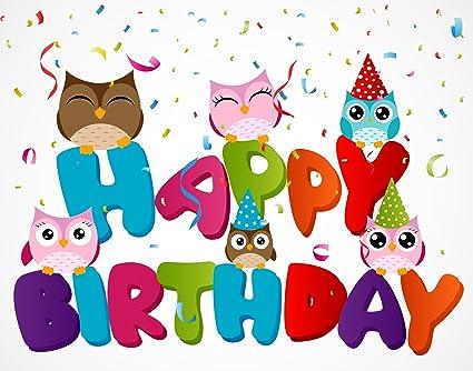 happy birthday owls Amazon.com: Owl Happy Birthday Edible Cake Image Topper 8 Inch  happy birthday owls
