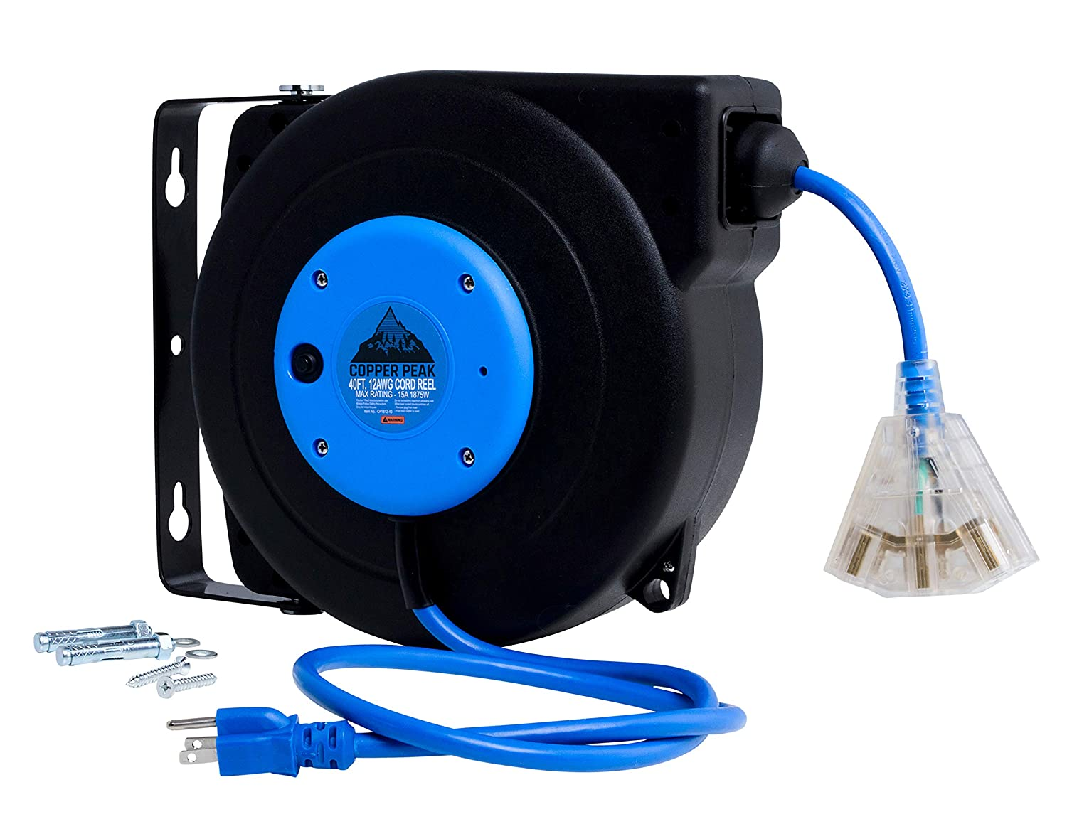 CopperPeak 40 Foot Retractable Extension Cord Reel - Ceiling or Wall Mount - 12 Gauge - Blue and Black