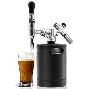 Nitro Cold Brew Coffee Maker - 64Oz Stainless Steel Home Brew Coffee Keg w/ Adjustable Pressure Regulator, Nitrogen Coffee Growler Machine Dispenser System, Stout Creamer Faucet - NutriChef NCNTROCB20