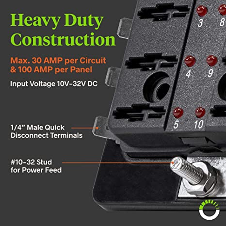 amazon com: 10-way blade fuse box [led indicator for blown fuse]  [protection cover] [100 amps] - fuse block for automotive: automotive