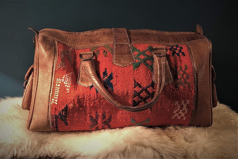 Burnt Orange Kilim and Leather Travel Bag