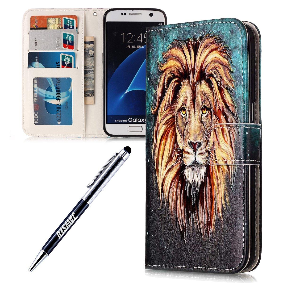 JAWSEU Samsung Galaxy S7 Edge Custodia Cover Pell Portafoglio, Wallet Pouch Colorato Marmo Telefono Custodia[Shock-Absorption] Magnetica Supporto Protettiva Bumper Cover Leather Flip Cover