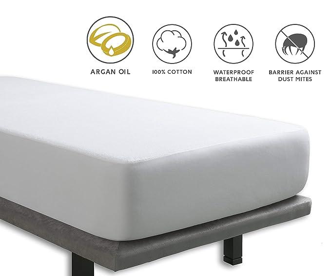 Tural - Protector de Colchón Impermeable con Tratamiento de Aceite de Argán | Transpirable | Ajustable | Rizo 100% Algodón. Talla 150x190/200 cm: Amazon.es: ...