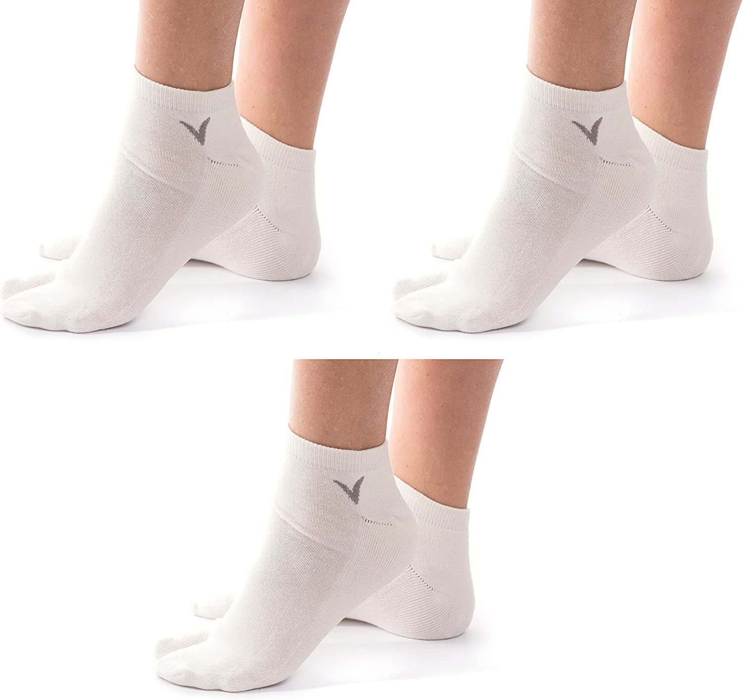 3 Pairs Thicker Athletic Flip Flop Socks Tabi Big Toe Crew Or Ankle Mens And Womens V-Toe