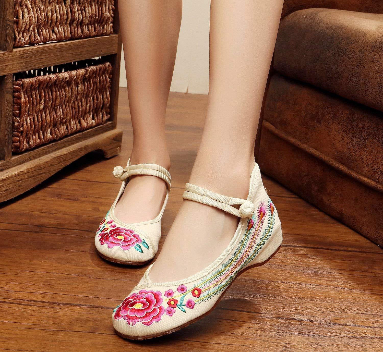 Fuxitoggo Bestickte Schuhe Sehnensohle Ethno-Stil Ethno-Stil Ethno-Stil weibliche Stoffschuhe Mode bequem Tanzschuhe Meter weiß 35 (Farbe   - Größe   -) d93205