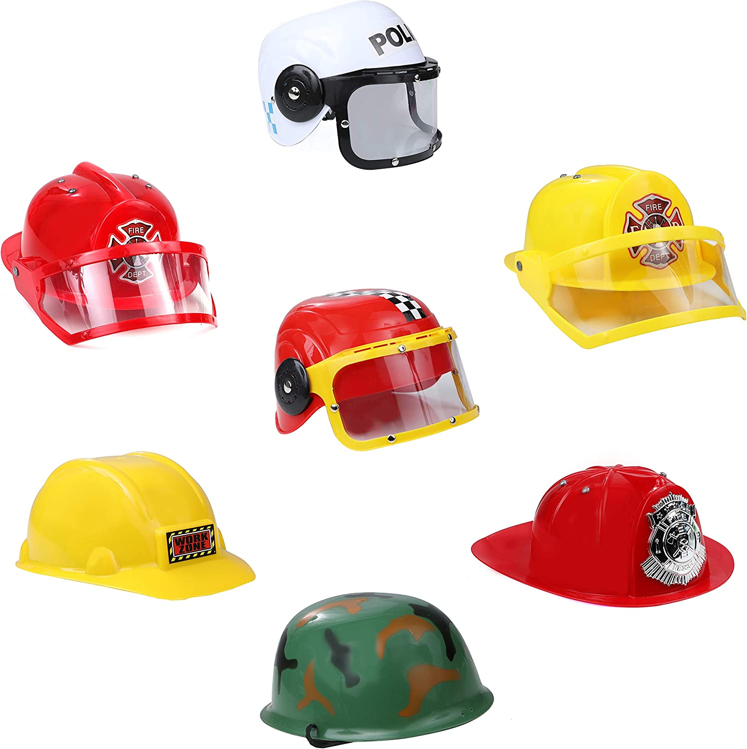 IQ Toys Role Play Dress Up Costume Hats Set of 5 Assorted Party Hats  Including Police, SWAT Team, Fire Chief, Army, Construction, Racing Car,  and