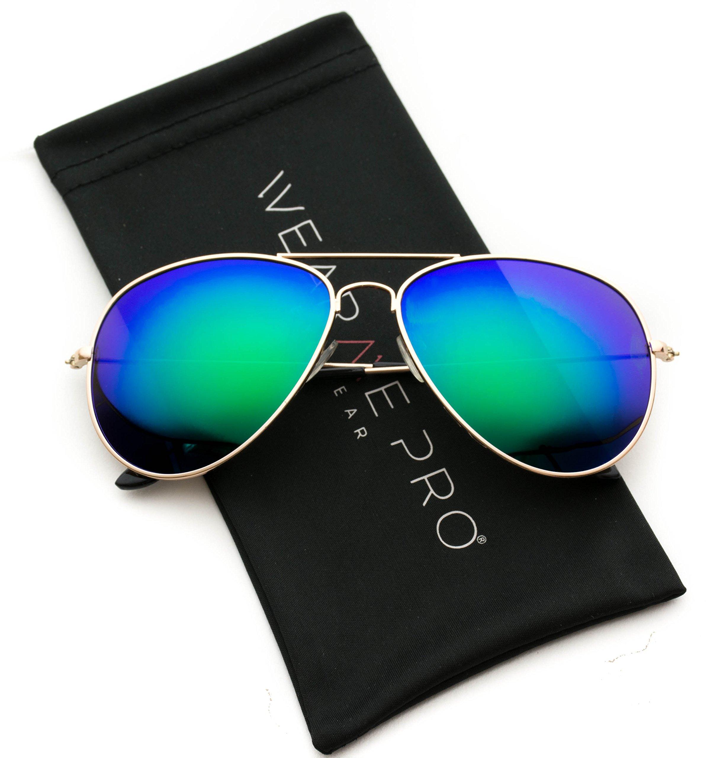 WearMe Pro - Polarized Metal Frame Pilot Style Aviator Sunglasses (Gold Frame/Mirror Green Lens, 60)