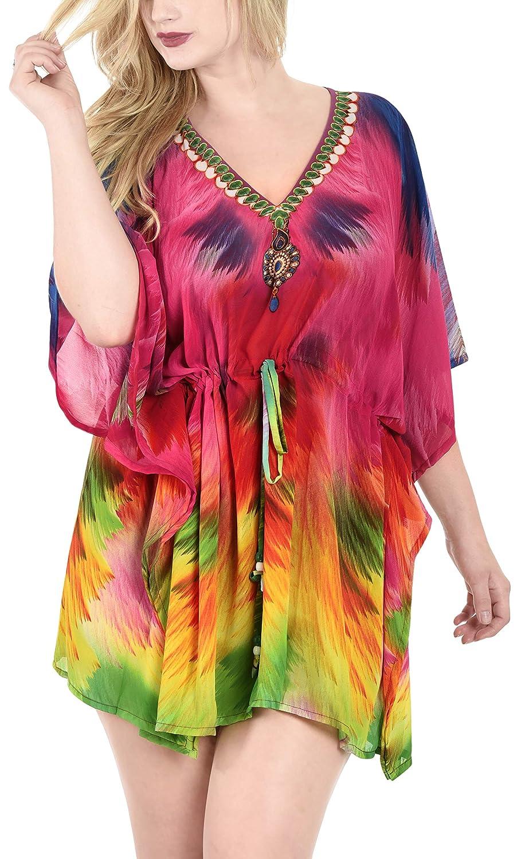 LA LEELA Frauen Damen Chiffon Kaftan Tunika 3D HD Gedruckt Kimono freie Größe kurz Midi Party Kleid für Loungewear Urlaub Nachtwäsche Strand jeden Tag Kleider