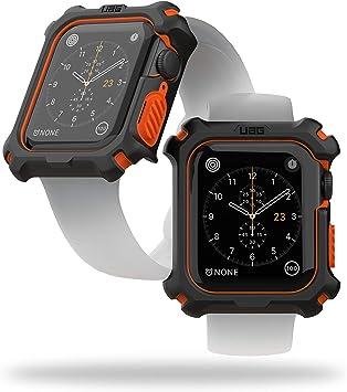 URBAN ARMOR GEAR UAG Compatible Apple Watch Case 44mm, iWatch Series 6/5/4 & Watch SE, Rugged Protective Bumper Case, Black/Orange