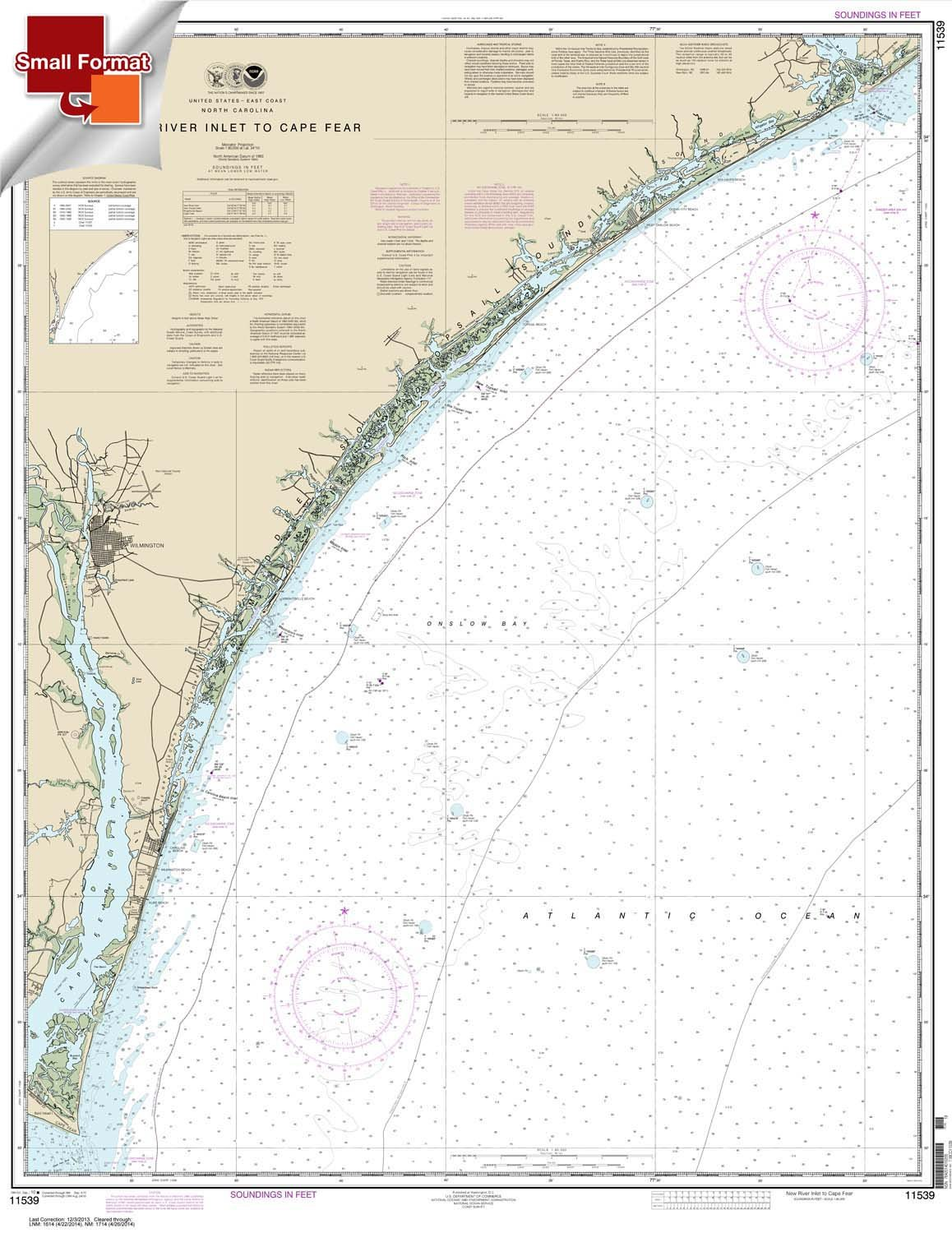 New River Inlet to Cape Fear 21.00 x 27.17 Paradise Cay Publications NOAA Chart 11539 SMALL FORMAT WATERPROOF