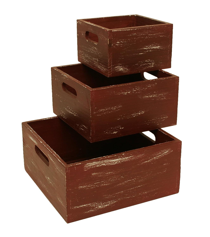 Set of 3 Wald Imports Red Wash Distressed Finish Wood Weathered Decorative Storage Crates