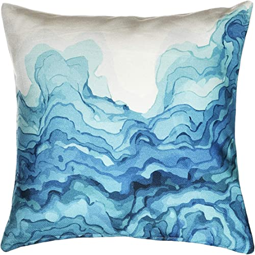 Fab Habitat Decorative Large Throw Pillow, 20 x 20 I Soft Textile Feel I Made from Recycled Plastic Bottles I Use Inside or Outdoors, Stain Resistant I Cushion and Cover I Watercolor Waves, Teal