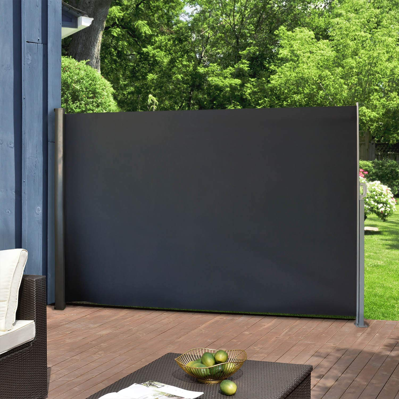 Peach Tree 9.8/'x5.2/'Retractable Folding Sliding Side Awning Fence Screen Shade Grey