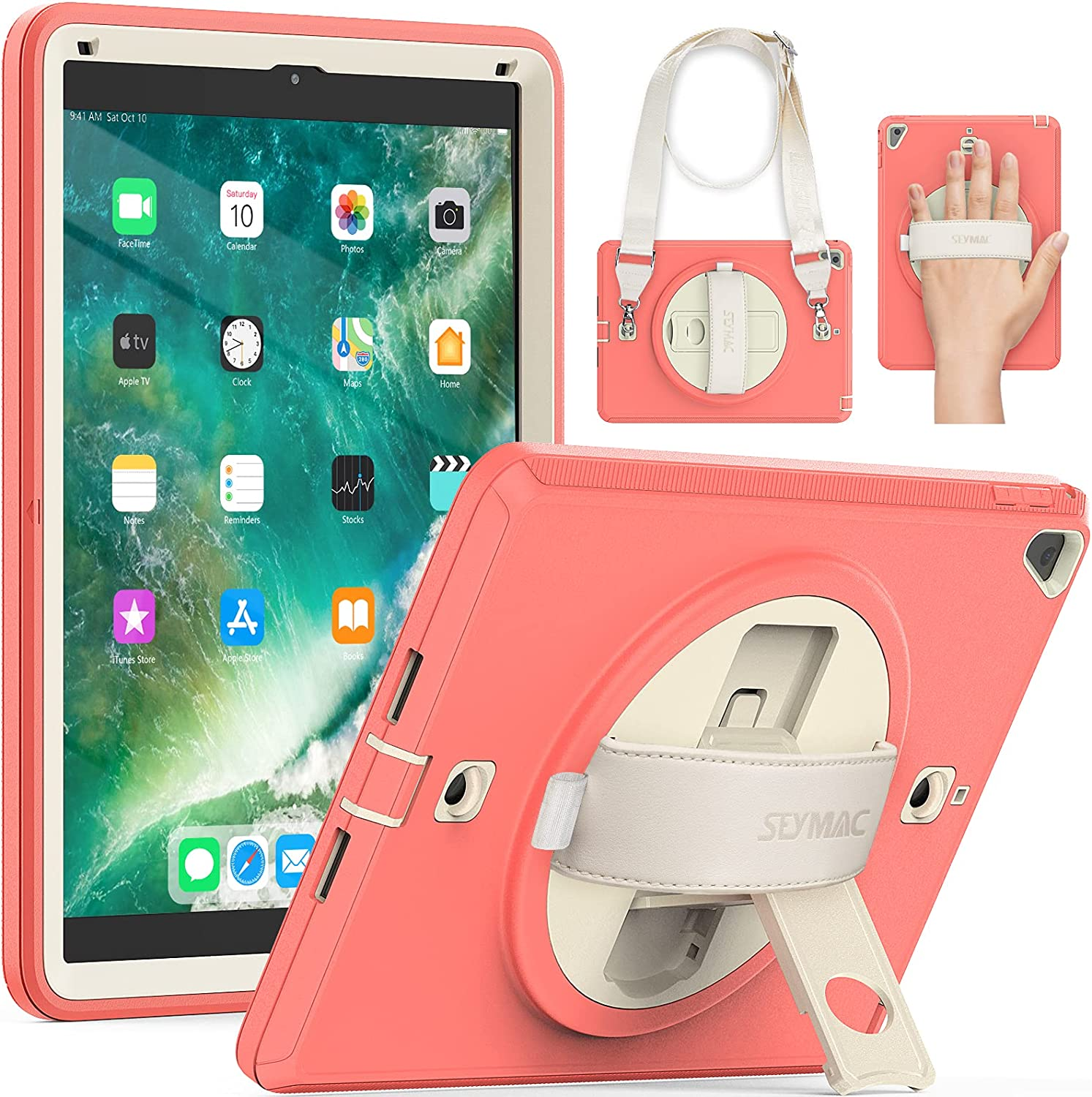 iPad 9.7 Case, iPad 5th/6th Gen Case SEYMAC Heavy Duty Rugged Shockproof iPad Air 2 Case with Screen Protector Full Protection iPad Pro 9.7 Case with Rotatable Stand & Hand Strap Beige/Light Orange