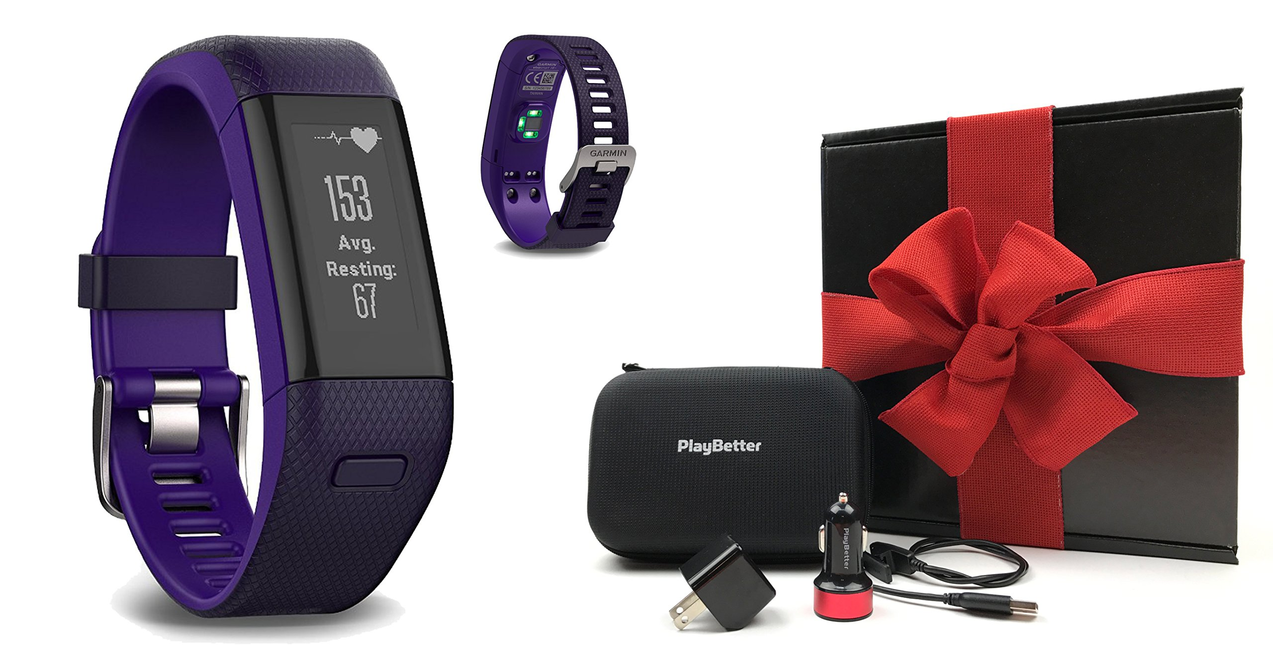 Garmin vivosmart HR+ (Purple) GIFT BOX Bundle | Includes GPS Fitness Band/Activity Tracker with Wrist-HR, PlayBetter USB Car/Wall Adapter, Protective Case | Black Gift Box