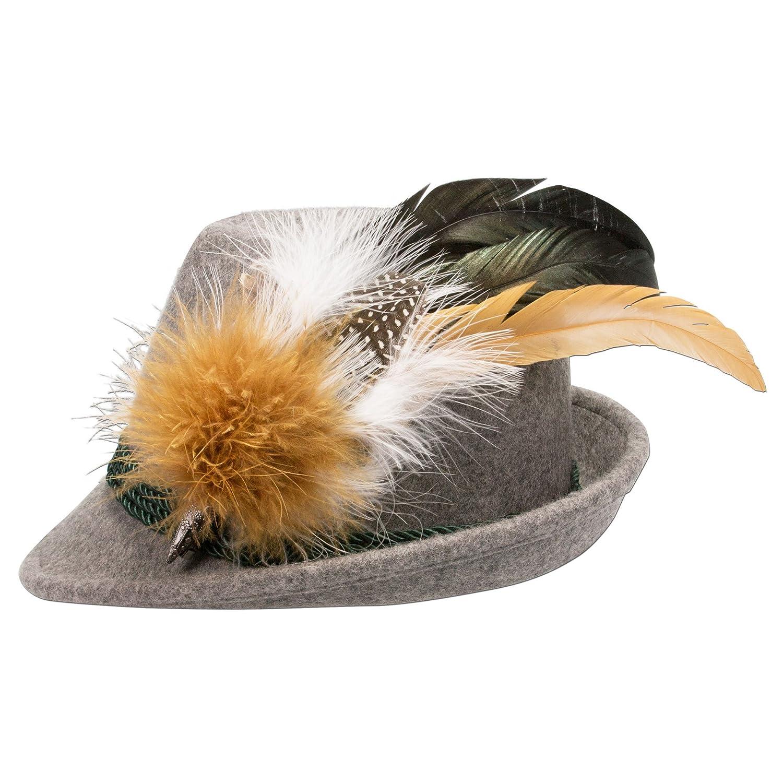 Alpenflüstern Damen Filzhut Trachtenhut grau mit Hutfeder Farbenfroh ADV07200M35 braun