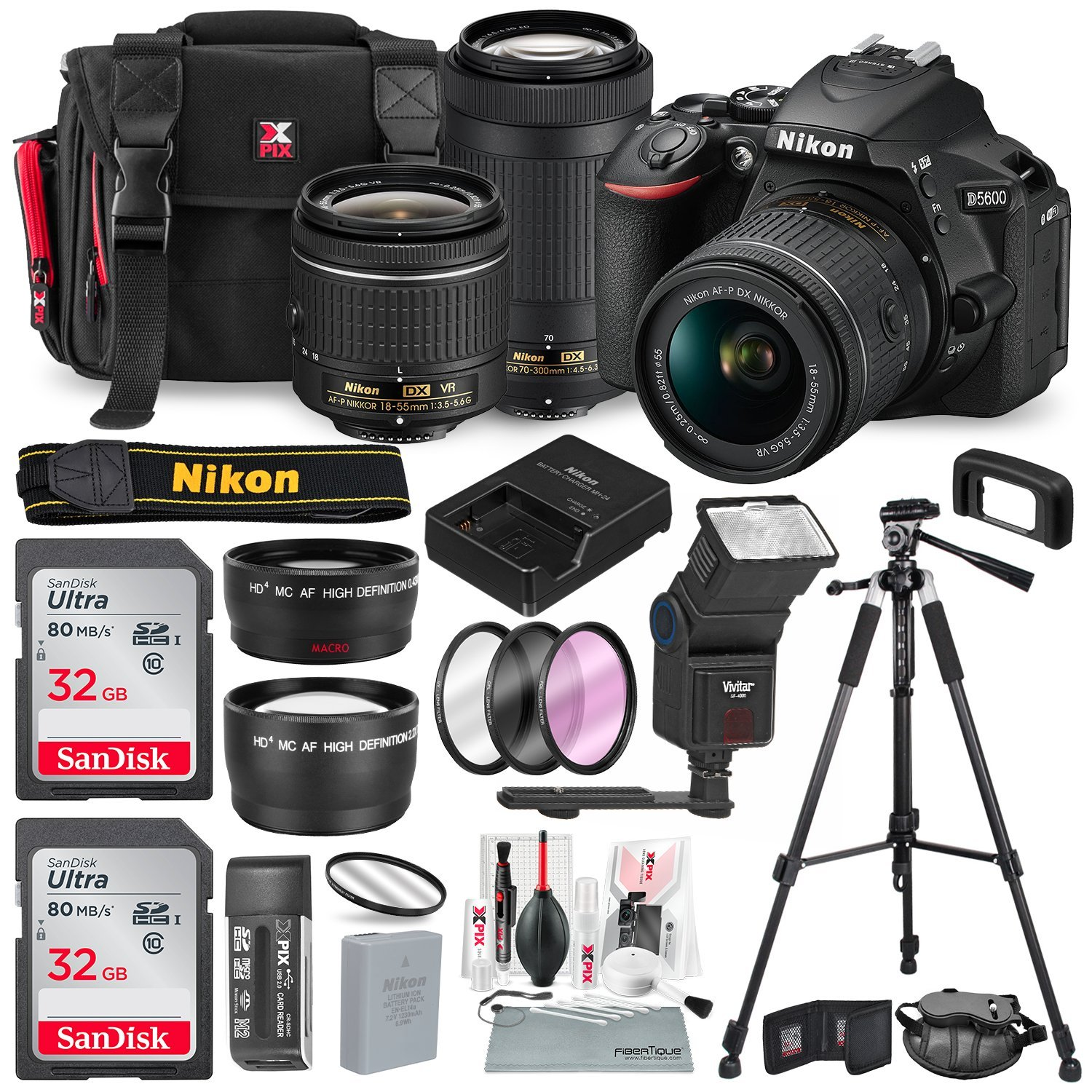 Nikon D5600 DSLR Camera with NIKKOR 18-55mm + 70-300mm Lenses W/2 x 32GB  Memory Card + Digital Slave Flash + Filters, Telephoto & Wideangle Lens,  Xpix