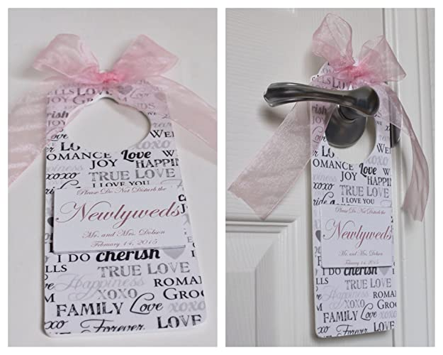 4c14cc9f50 Amazon.com  Custom Handmade Wedding Room Door Hanger for Newlyweds ...