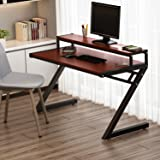 "Computer Desk, Tribesigns 55"" Z-Shaped Office Desk with Hutch, Modern Style Workstation Writing Desk For Home or Office (55in Teak finish with hutch)"