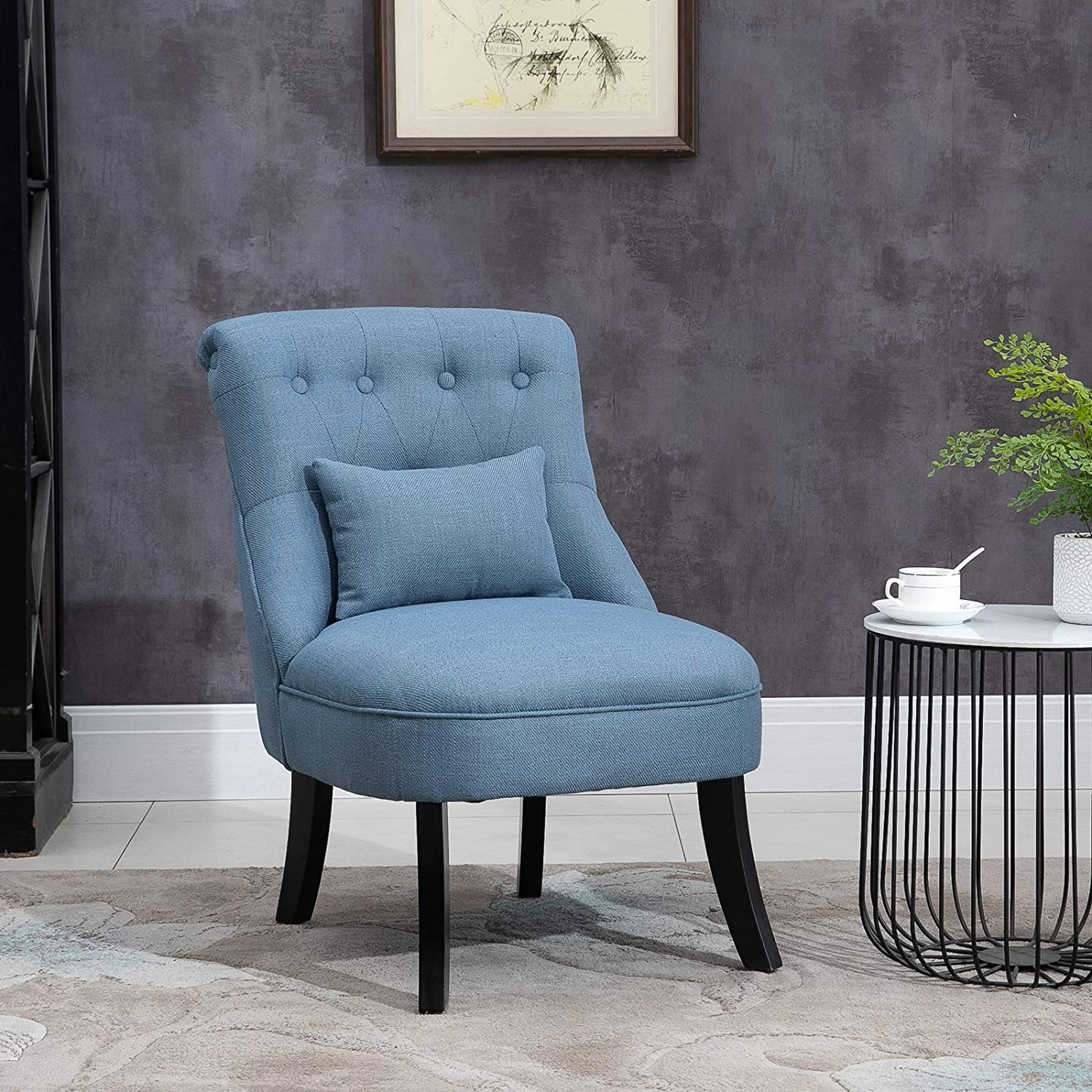 HOMCOM Fabric Single Sofa Dining Chair Tub Chair Upholstered W//Pillow Solid Wood Leg Home Living Room Furniture Blue