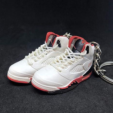 315d8a6c43c Amazon.com : Pair Air Jordan V 5 Retro Black Tongue Fire Red White OG  Sneakers Shoes 3D Keychain 1:6 Figure : Everything Else