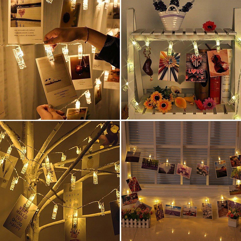 info for 1c31e e12af LED Photo Clip String Lights, Amazlab T2C Christmas Wedding Party  Decorative Lights, Hanging Fairy Lights, 16 Photo Clips with Battery  Powered, Warm ...