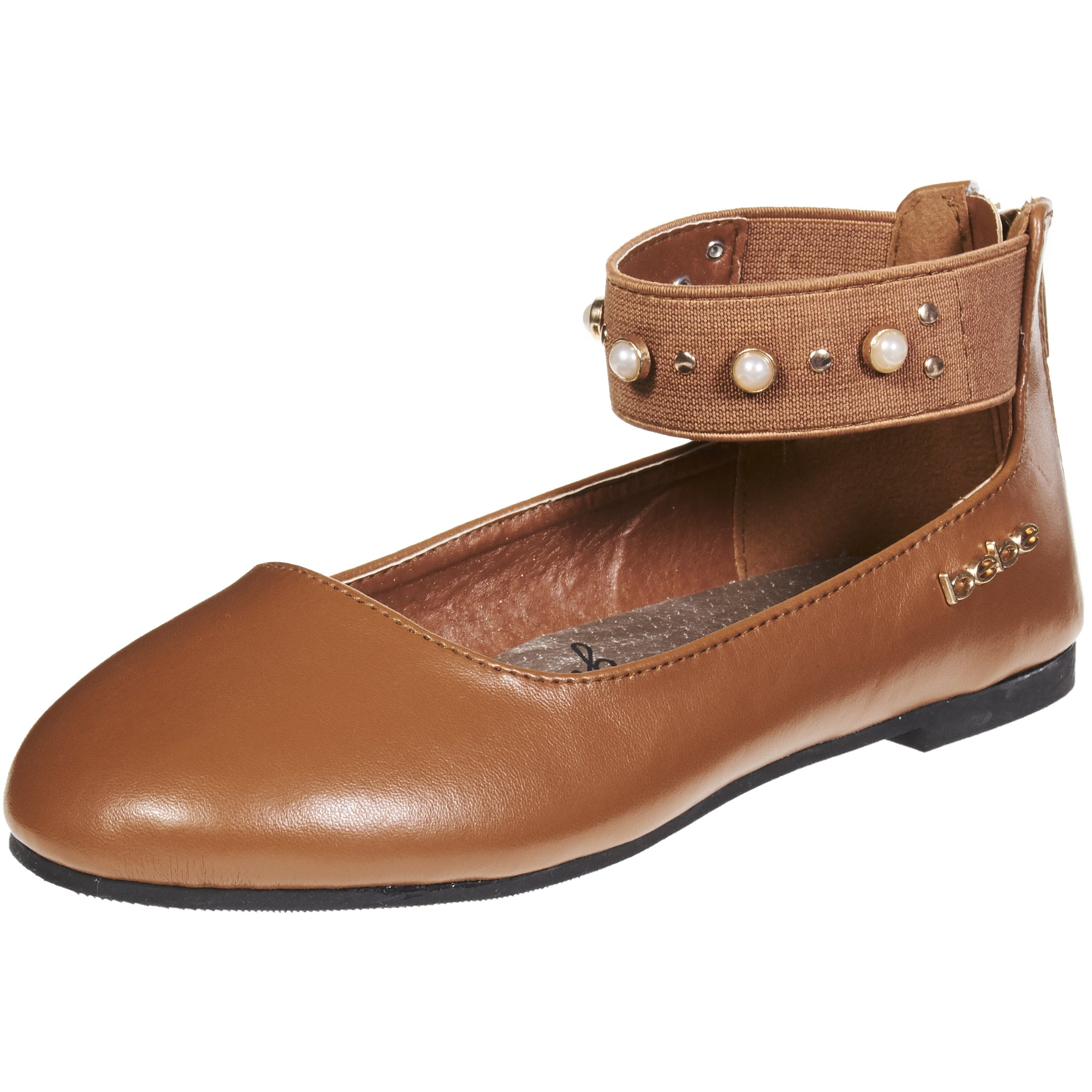 bebe Girls Big Kid Mary Jane Ballerina Ballet Flat Shoes Elastic Ankle Strap with Pearls and Studs 1 Cognac/Gold