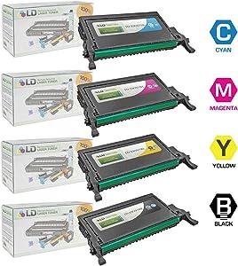 LD Refurbished Dell 2145cn Set of 4 High Yield Laser Toner Cartidges: 1 Black 330-3789, Cyan 330-3792, Magenta 330-3791, Yellow 330-3790