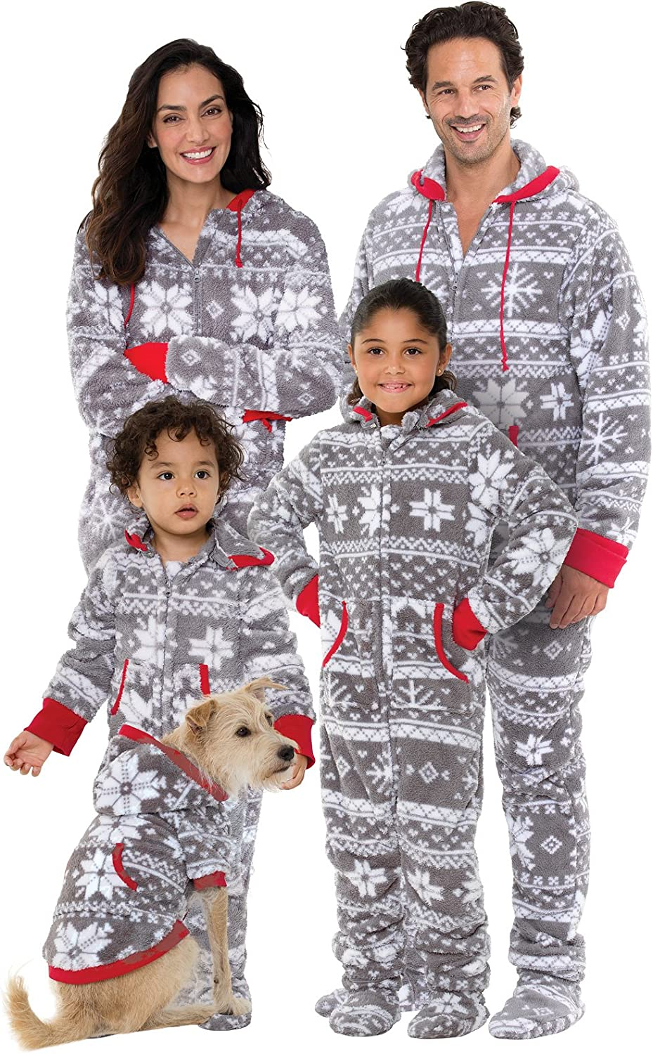 PajamaGram Family Pajamas Matching Sets - Nordic Fleece Christmas Onesie, Gray