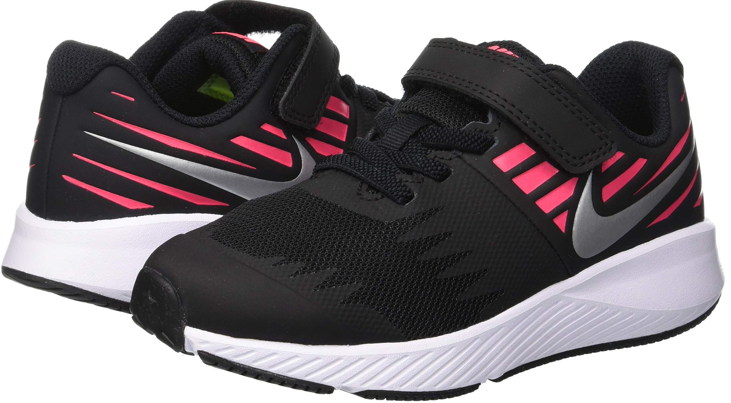 Nike Girl's Star Runner (PSV) Pre-School Shoe Black/Metallic Silver/Racer Pink/Volt Size 1.5 M US by Nike (Image #5)