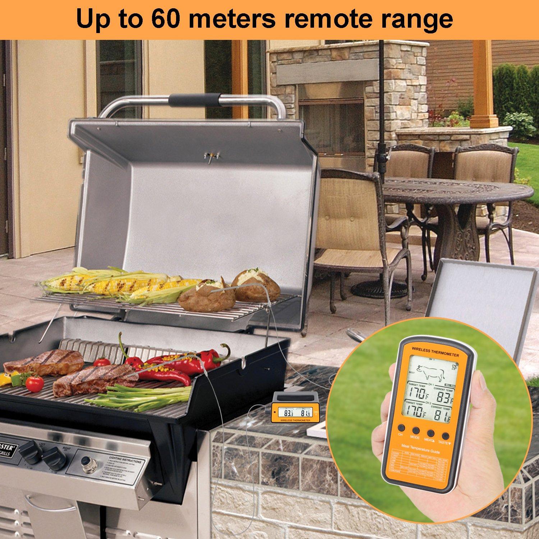 TOROAST Barbecue Backofen Grillthermometer, BBQ Bratenthermometer, Fleisch Küche Thermometer mit Temperaturalarm, Dual Edelstahl Fühler, °C und °F einstellbar, Batterien enthalten