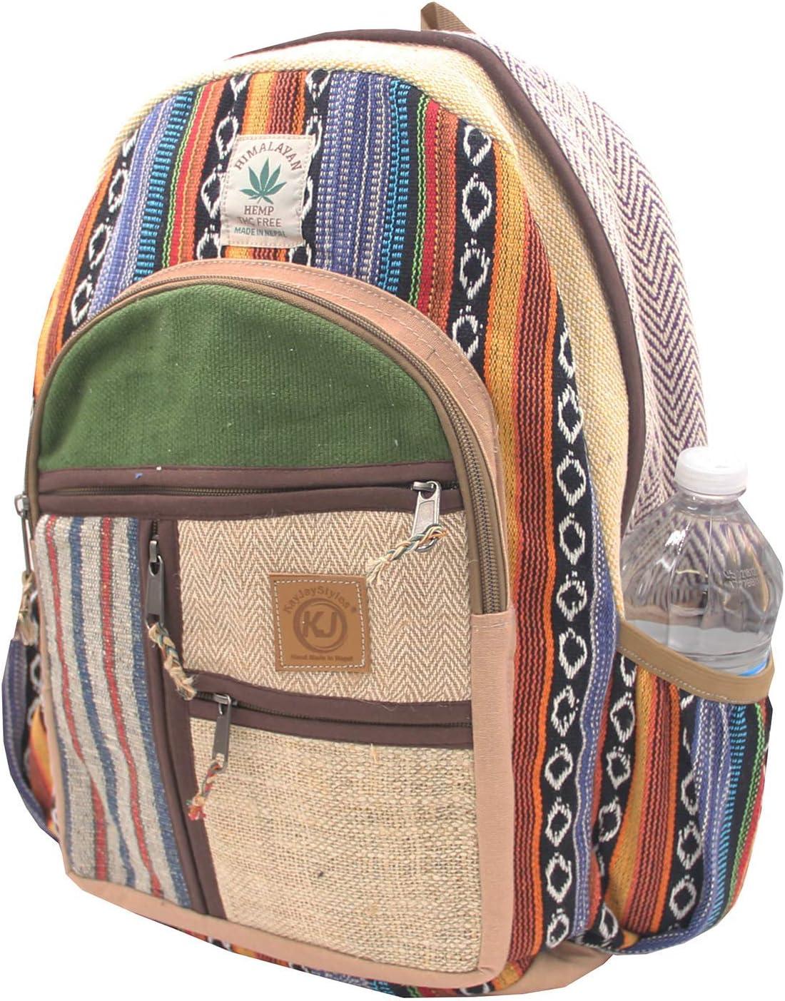 KayJayStyles Natural Handmade Large Multi Pocket Hemp Nepal Backpack (BKPK-6)