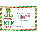 25 Official Elf Reports- 4 x 6 Elves Notice Naughty or Nice Behavior to Accompany Your Holiday Christmas Elf- North Pole…