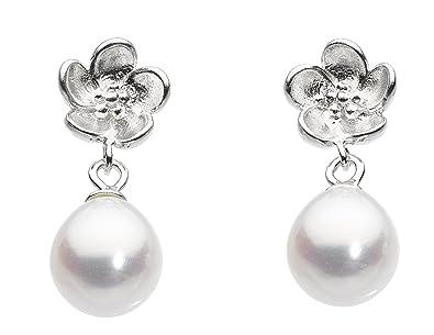 849a78da6 Dew Sterling Silver and Freshwater Pearl Flower Stud Earrings 3636FP: Amazon .co.uk: Jewellery