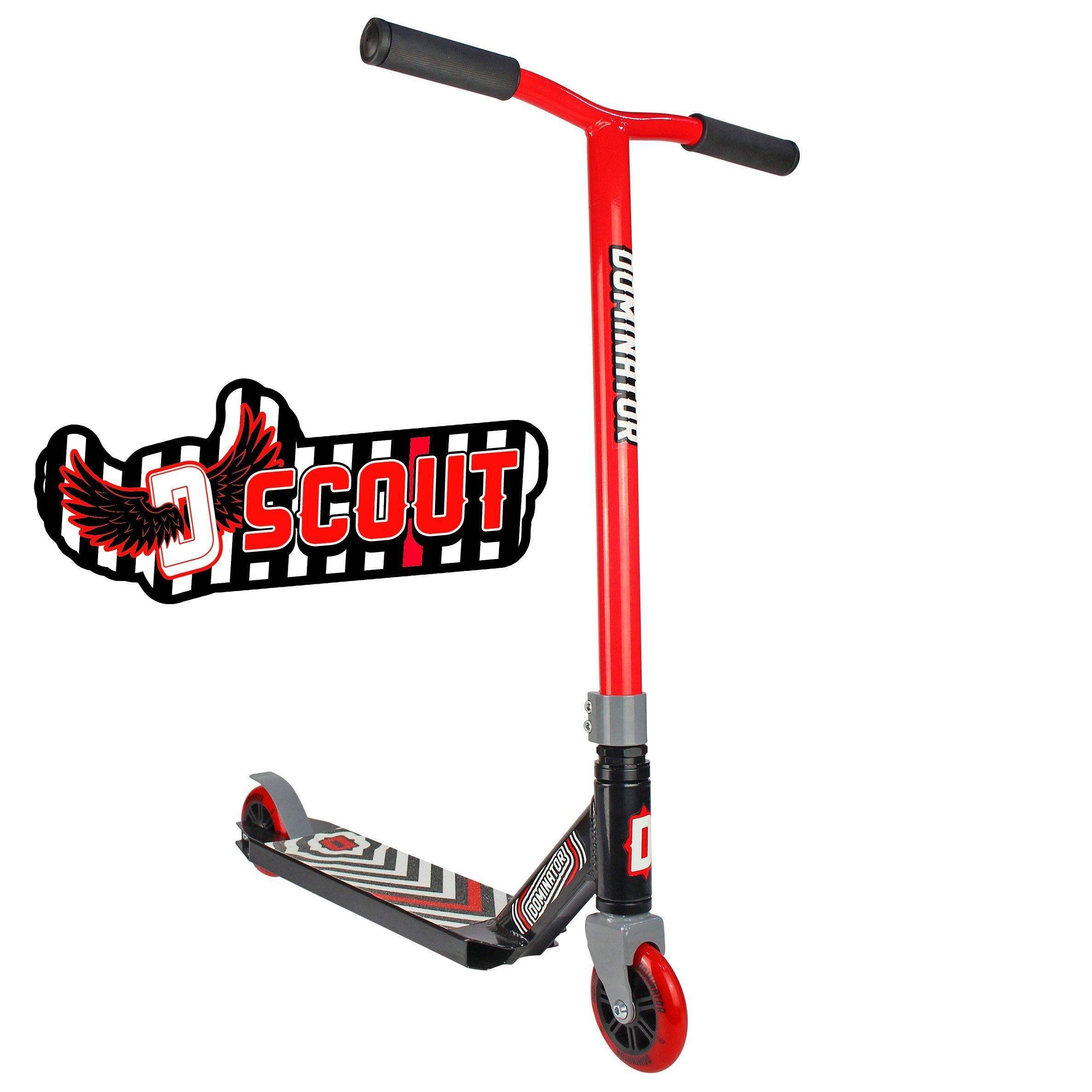 Dominator Scout Pro Scooter - Stunt Scooter - Trick Scooter (Red/Black)