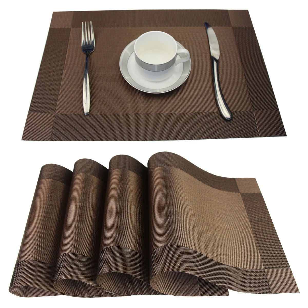 Placemats Set of 6 Stain Resistant PVC Placemat for Dining Table Woven Vinyl Heat-resistantS Table Mats Easy to Clean (Brown, 6)