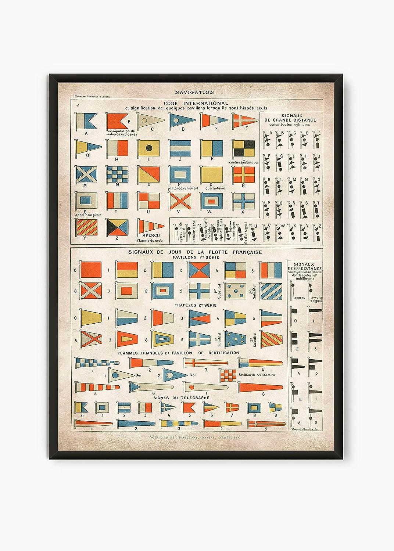 Vintage Nautical print, Nautical Flags wall art, Sailor Print, Marine Poster, Sailing art, Nautical decor, Nautical gift, L38