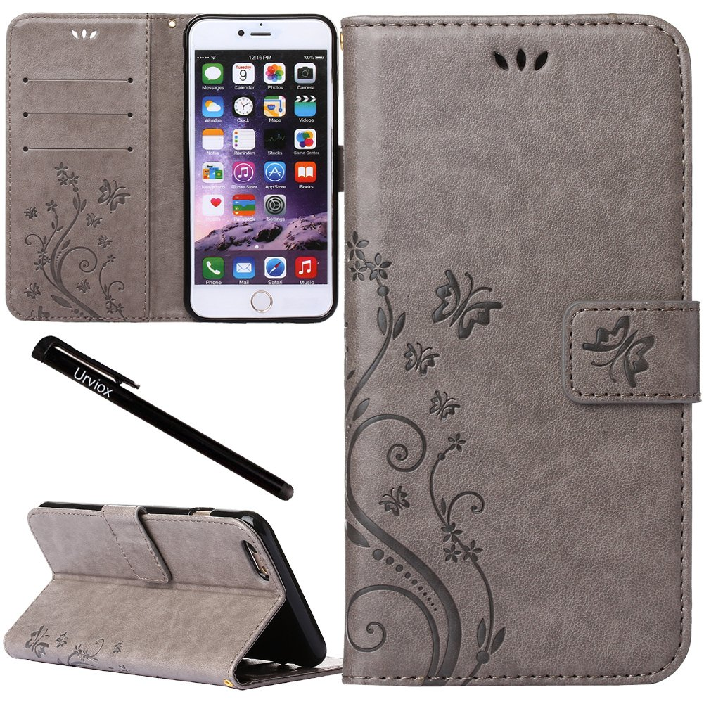 innovative design 5493e 657b1 Urvoix iPhone 6 Plus/iPhone 6S Plus Case, Card Holder Stand Smooth Hand  Feel PU Leather Wallet Case - Embossed Flower Butterfly Flip Cover for  iPhone6 ...