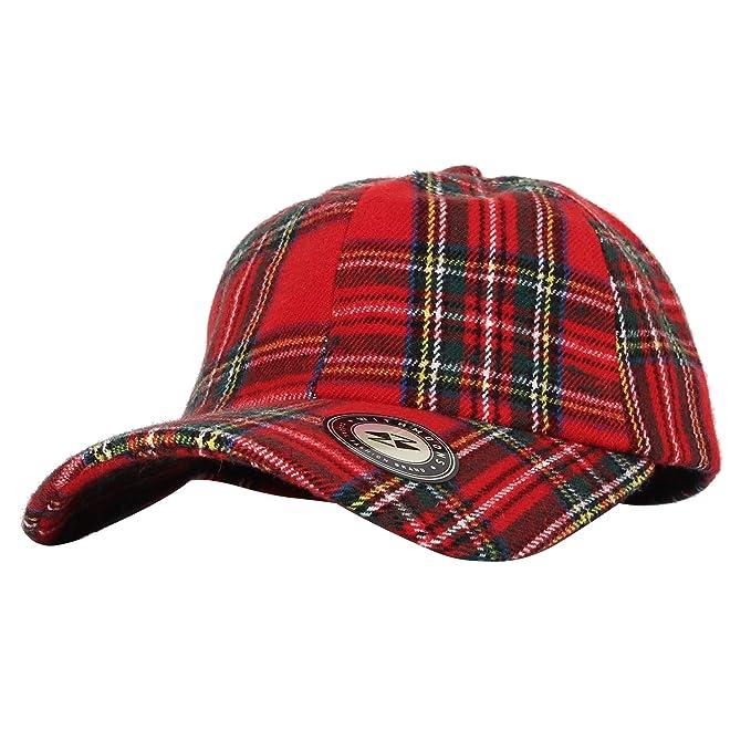 326d65b836d WITHMOONS Baseball Cap Tartan Plaid Check Winter Cotton Hat KR11087 (Red)  at Amazon Men s Clothing store