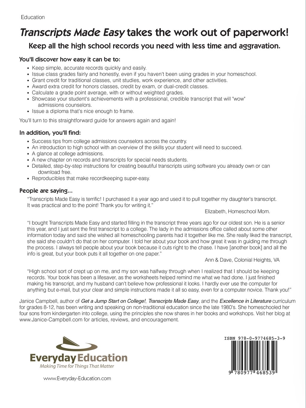Transcripts Made Easy The Homeschoolers Guide To High School  Transcripts Made Easy The Homeschoolers Guide To High School Paperwork  Janice Campbell  Amazoncom Books