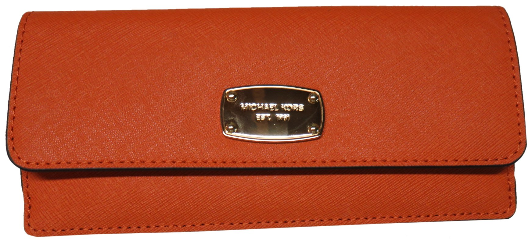 Michael Kors Jet Set Travel Flat Saffiano Leather Wallet (Tangerine Orange)